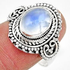 4.23cts solitaire natural rainbow moonstone 925 silver ring size 9 r49437
