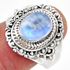 4.28cts solitaire natural rainbow moonstone 925 silver ring size 9 r49439