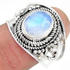4.55cts solitaire natural rainbow moonstone 925 silver ring size 9 r51936