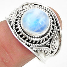 4.93cts solitaire natural rainbow moonstone 925 silver ring size 9 r51958