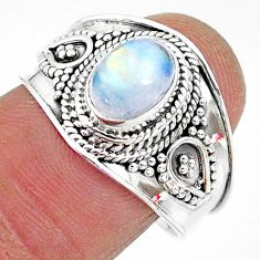 2.17cts solitaire natural rainbow moonstone 925 silver ring size 9 t10080