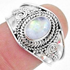 2.09cts solitaire natural rainbow moonstone 925 silver ring size 9 t10081