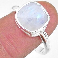 5.35cts solitaire natural rainbow moonstone 925 silver ring size 9 t11329