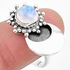 2.79cts solitaire natural rainbow moonstone 925 silver ring size 9 t25137