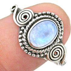 1.52cts solitaire natural rainbow moonstone 925 silver ring size 9 t26215