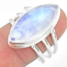 14.41cts solitaire natural rainbow moonstone 925 silver ring size 9 t29227