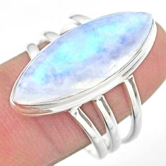 15.33cts solitaire natural rainbow moonstone 925 silver ring size 9 t29232