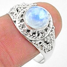 2.53cts solitaire natural rainbow moonstone 925 silver ring size 9 t3546
