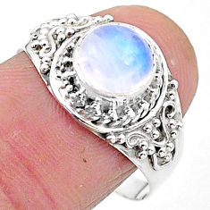 2.43cts solitaire natural rainbow moonstone 925 silver ring size 9 t3559