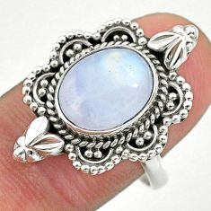 5.38cts solitaire natural rainbow moonstone 925 silver ring size 9 t39920