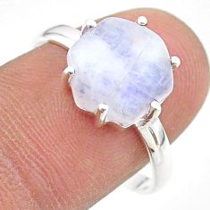 5.76cts solitaire natural rainbow moonstone 925 silver ring size 9 t43007
