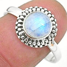 2.42cts solitaire natural rainbow moonstone 925 silver ring size 9 t6565