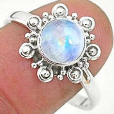2.45cts solitaire natural rainbow moonstone 925 silver ring size 9 t6573