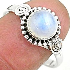 2.42cts solitaire natural rainbow moonstone 925 silver ring size 9 t6575