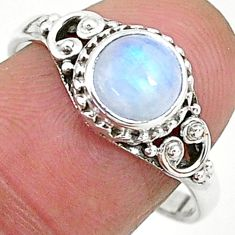 2.30cts solitaire natural rainbow moonstone 925 silver ring size 9 t6576