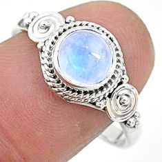 2.42cts solitaire natural rainbow moonstone 925 silver ring size 9 t6586