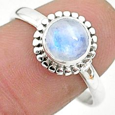 2.40cts solitaire natural rainbow moonstone 925 silver ring size 9 t6588