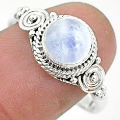 2.44cts solitaire natural rainbow moonstone 925 silver ring size 9 t6589