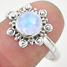 2.40cts solitaire natural rainbow moonstone 925 silver ring size 9 t6607