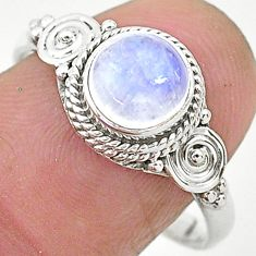 2.55cts solitaire natural rainbow moonstone 925 silver ring size 9 t6610