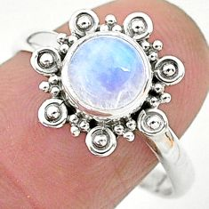 2.57cts solitaire natural rainbow moonstone 925 silver ring size 9 t6617