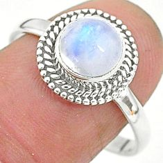 2.57cts solitaire natural rainbow moonstone 925 silver ring size 9 t6625