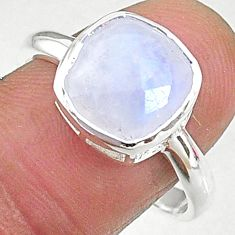 4.80cts solitaire natural rainbow moonstone 925 silver ring size 9 t8231