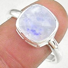 5.24cts solitaire natural rainbow moonstone 925 silver ring size 9 t8236