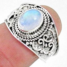 2.19cts solitaire natural rainbow moonstone 925 silver ring size 7.5 t10065