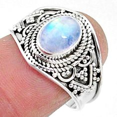 2.09cts solitaire natural rainbow moonstone 925 silver ring size 7.5 t10067