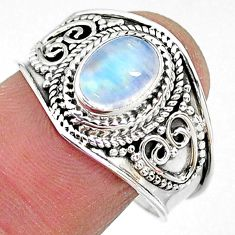 2.12cts solitaire natural rainbow moonstone 925 silver ring size 8.5 t10068