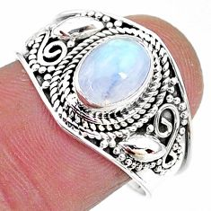 2.08cts solitaire natural rainbow moonstone 925 silver ring size 8.5 t10072