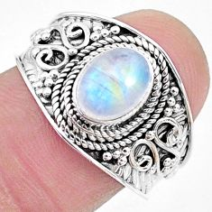 2.18cts solitaire natural rainbow moonstone 925 silver ring size 8.5 t10082