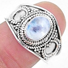 2.17cts solitaire natural rainbow moonstone 925 silver ring size 8.5 t10083