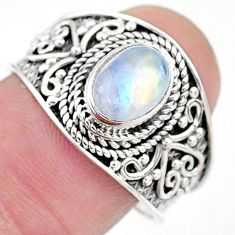 2.05cts solitaire natural rainbow moonstone 925 silver ring size 8.5 t10090