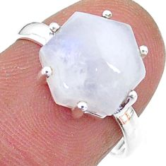 5.44cts solitaire natural rainbow moonstone 925 silver ring size 6.5 t11122