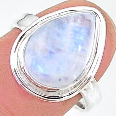6.57cts solitaire natural rainbow moonstone 925 silver ring size 7.5 t12801
