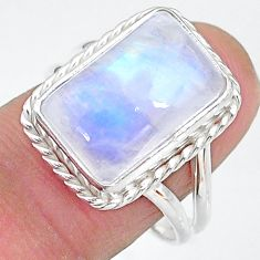 7.22cts solitaire natural rainbow moonstone 925 silver ring size 8.5 t12811