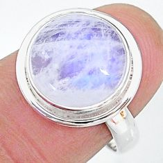 6.98cts solitaire natural rainbow moonstone 925 silver ring size 7.5 t12818