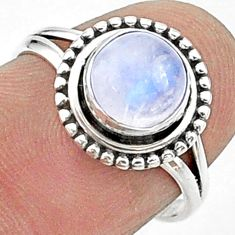 2.42cts solitaire natural rainbow moonstone 925 silver ring size 6.5 t15653