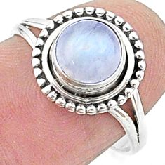 2.31cts solitaire natural rainbow moonstone 925 silver ring size 5.5 t15659