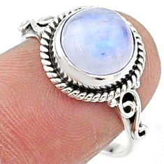 4.87cts solitaire natural rainbow moonstone 925 silver ring size 7.5 t15712
