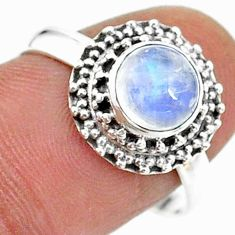 2.53cts solitaire natural rainbow moonstone 925 silver ring size 8.5 t15734