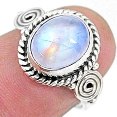 3.91cts solitaire natural rainbow moonstone 925 silver ring size 5.5 t15817
