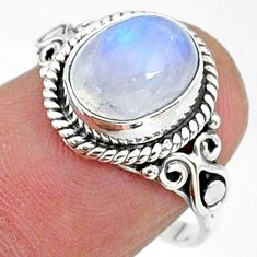 4.06cts solitaire natural rainbow moonstone 925 silver ring size 6.5 t15855