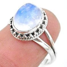 4.06cts solitaire natural rainbow moonstone 925 silver ring size 7.5 t20055