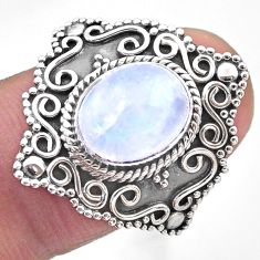 4.26cts solitaire natural rainbow moonstone 925 silver ring size 6.5 t20100