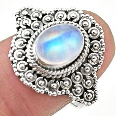 3.26cts solitaire natural rainbow moonstone 925 silver ring size 7.5 t20139