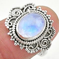 4.06cts solitaire natural rainbow moonstone 925 silver ring size 7.5 t20218