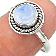 1.31cts solitaire natural rainbow moonstone 925 silver ring size 7.5 t26276